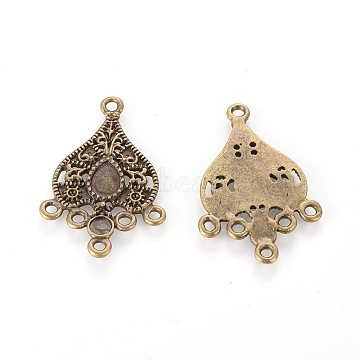 1/5 Tibetan Style Teardrop Chandelier Components Connectors, Antique Bronze, Lead Free & Cadmium Free & Nickel Free, 37.5x22x2mm, Hole: 1.5mm, Tray: 5x7mm & 4mm, Fit for 1mm Rhinestone(X-TIBEB-EA143Y-AB-FF)