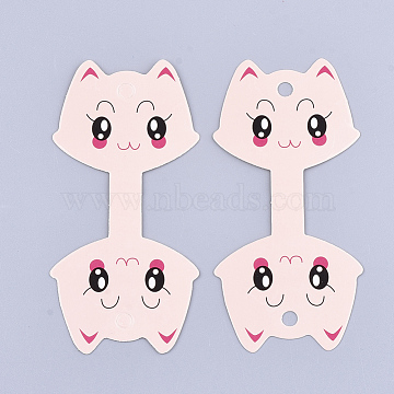 Kitten Cardboard Display Cards, Used For Necklaces, Cat Head, Misty Rose, 11x5.4cm(CDIS-T003-20)