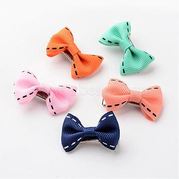 Iron Alligator Hair Clips, with Handmade Woven Bowknot, Platinum, Mixed Color, 36x22x11mm(PHAR-JH00053)