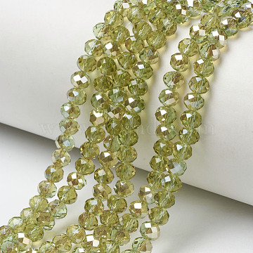 "Electroplate Glass Beads Strands, Half Plated, Rainbow Plated, Faceted, Rondelle, YellowGreen, 6x5mm, Hole: 1mm; about 92~94pcs/strand, 17~17.5""(42.5~43.75cm)(EGLA-A034-T6mm-K15)"