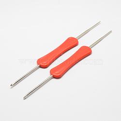 Poignée fer aiguilles crochet de crochets en plastique, orange rouge , broche: 1.0~2.0 mm; 160x17x5 mm(TOOL-R038B-02)