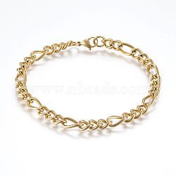 304 Stainless Steel Chain Anklets, with Lobster Claw Clasps, Golden, 8-5/8inches(220mm)x6mm(X-AJEW-I039-03G)
