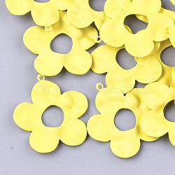 Spray Painted Iron Pendants, Flower, Yellow, 33.5x31.5x2mm, Hole: 1mm(X-IFIN-S704-03A)