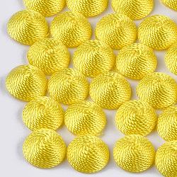 Cabochons en tissu de fil de polyester, recouvert de plastique abs, demi-rond / dôme, jaune, 14.5x7mm(WOVE-T008-02B-02)