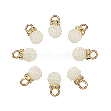 Plastic Imitation Pearl Pendants, with Alloy Findings and Rhinestone, Golden, Round, White, 17x10mm, Hole: 4mm(KY-TA0001-06A)