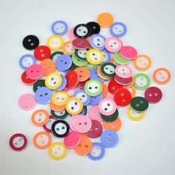 lumineux encerclé boutons d'artisanat 2 trous, Bouton de résine, plat rond, couleur mélangée, sur 11 mm de diamètre, trou: 1.5 mm(X-FNA14TX)