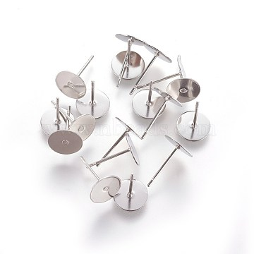 304 Stainless Steel Flat Round Blank Peg & Post Ear Studs Findings, for DIY Earring Making, 12x8mm, Pin: 0.7mm (X-STAS-E025-3)