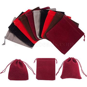 Pochettes en velours nbeads® rectangulaires, pochettes à tirer, sacs-cadeaux, couleur mixte, 12x10 cm(TP-NB0001-08)