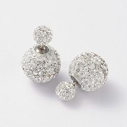 Doubles autrichiens clous d'oreilles boule de cristal, avec des clous en argent pur et des accessoires en laiton, 001 _crystal, 6~12mm, pin: 0.7 mm(EJEW-D177-07)