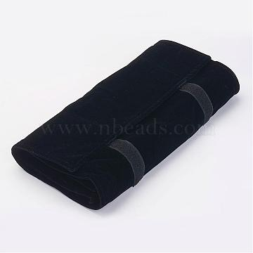 Velours Ring Displays, with Brass Findings, Rectangle, Black, 64.5x58.2x2cm(RDIS-P001-01)