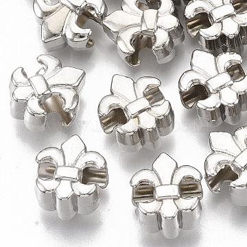 Plating ABS Plastic European Beads, Large Hole Beads, Fleur De Lis, Platinum, 13.5x11.5x8mm, Hole: 4.5mm(X-KY-T019-17)