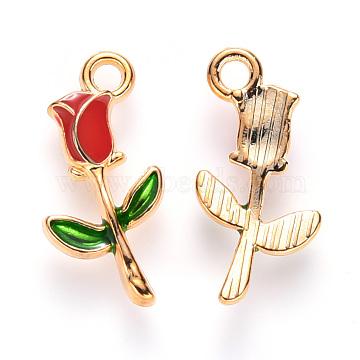 Alloy Enamel Pendants, Rose Shape, Light Gold, Red, 19x9x2.5mm, Hole: 1.8mm(X-ENAM-S121-048)