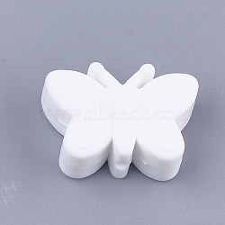 Food Grade Environmental Silicone Beads, Chewing Beads For Teethers, DIY Nursing Necklaces Making, Butterfly, White, 20.5x30x11mm, Hole: 2mm(X-SIL-T052-05B)