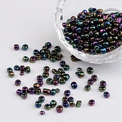 6/0 perles de rocaille en verre rondes iris électroplaquées, colorées, 4mm, trou: 1 mm; environ 495 pcs / 50 g(X-SEED-A009-4mm-603)