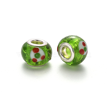 Handmade Lampwork European Beads, Large Hole Rondelle Beads, with Platinum Tone Brass Double Cores, Lime Green, 14~16x9~10mm, Hole: 5mm(LPDL-N001-057-C08)