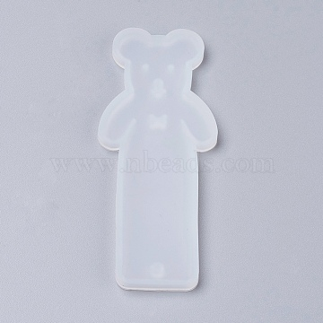 Silicone Bookmark Molds, Resin Casting Molds, Bear, Clear, 93x38x4.5mm; Inner Diameter: 89x35mm(X-DIY-P001-02A)