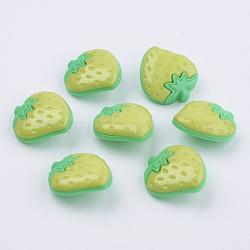 Boutons de fraises en acrylique, 1-trou, teint, greenyellow, 25x22x6mm, Trou: 3x2mm(BUTT-E021-B-06)