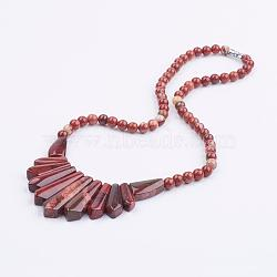 Natural Red Rainbow Jasper Bib Statement Necklaces, with Brass Findings, 18.5inches(47.1cm)(NJEW-K083-03)