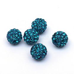 Polymer Clay Pave Rhinestone Beads, Disco Ball Beads, Blue Zircon, PP15(2.1~2.2mm), 6 Rows Rhinestone; 12mm, Hole: 1.5mm(X-RB-Q197-12mm-10)
