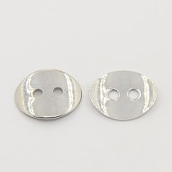 2 -hole laiton ovale bouton fermoirs, platine, 14x10mm, Trou: 1mm(X-KK-G080-N)