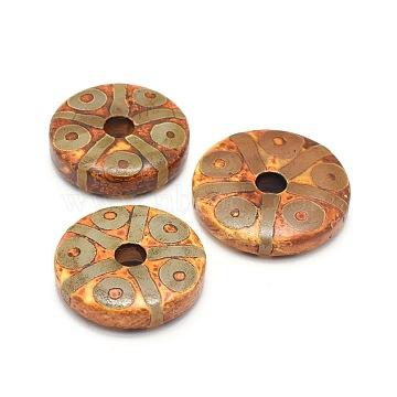 Tibetan Style 10-Eye dZi Beads, Natural Agate Beads, Dyed & Heated, Donut, Chocolate, 47~52x10~13mm, Hole: 8.5mm(TDZI-O003-27A)