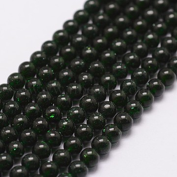 Green Goldstone Beads Strands, Round, 3mm, Hole: 0.5mm, about 125pcs/strand(X-G-N0200-01B-3mm)