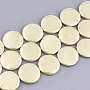 20mm Yellow Flat Round Shell Pearl Beads(X-SSHEL-T007-22E)