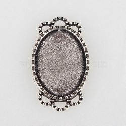 Supports cru tibétains en alliage connecteur cabochon de lunette, argent antique, plateau ovale: 18x13 mm; 26x15x2 mm, Trou: 2mm(X-TIBE-O001-07AS)