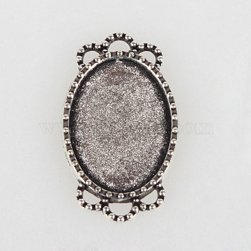 Vintage Tibetan Style Alloy Connector Cabochon Bezel Settings, Cadmium Free & Lead Free, Antique Silver, Oval Tray: 18x13mm, 26x15x2mm, Hole: 2mm(X-TIBE-O001-07AS)