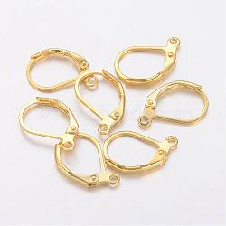 Brass Leverback Earring Findings, Earring Components for Jewelry Making, with Loop, Nickle Free, Golden, 15x10mm, Hole: 1mm(X-KK-H670-G-NF)
