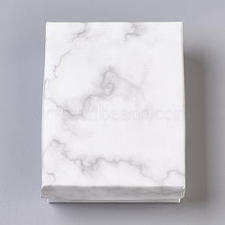 Paper Cardboard Jewelry Boxes, Rectangle, with Black Sponge inside, White, 9.1x7.1x2.8cm; Inner Size: 8.5x6.4cm(CBOX-E012-03A)