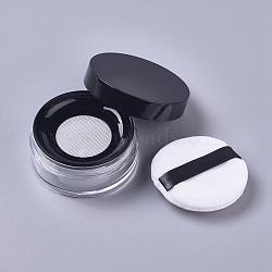 Reusable Plastic Loose Powder Bottles, Empty Bottles, DIY Makeup Powder Case, with Sponge Powder Puff, Mirror and Sifter, Black, 6.5x3.03cm; Capacity: 15g(MRMJ-WH0056-34C)