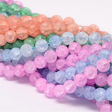 Synthetic Crackle Quartz Bead Strands, Round, Dyed, Frosted, Mixed Color, 8mm, Hole: 1mm; about 50pcs/strand, 15.75inches(CCG-K002-8mm-M)
