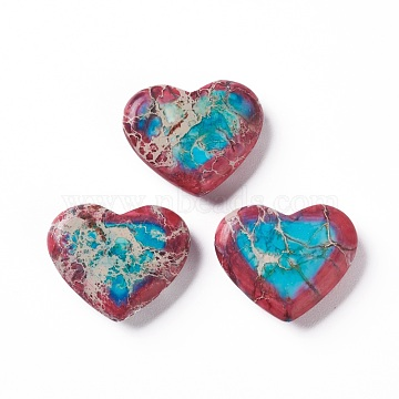 Natural Regalite/Imperial Jasper/Sea Sediment Jasper Beads, No Hole, Two Tone, Dyed, Heart, Turquoise, 25x30x7mm(G-Z008-09)