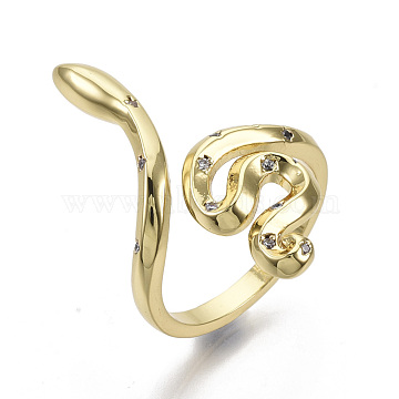 Brass Micro Pave Cubic Zirconia Cuff Rings, Nickel Free, Snake, Clear, Real 16K Gold Plated, Size 7, Inner Diameter: 17mm(X-RJEW-S044-072-NF)