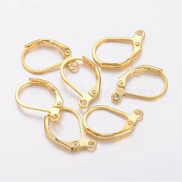 Brass Leverback Earring Findings, Earring Components for Jewelry Making, with Loop, Nickel Free, Golden, 15x10mm, Hole: 1mm(X-KK-H670-G-NF)