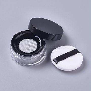 Reusable Plastic Loose Powder Bottles, Empty Bottles, DIY Makeup Powder Case, with Sponge Powder Puff, Mirror and Sifter, Black, 6.5x3.03cm, Capacity: 15g(MRMJ-WH0056-34C)