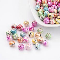 Perles acryliques couleur mélangée ronde bubblegum trapu ab vague de couleur imprimés, 8mm, Trou: 2mm(X-MACR-Q151B-M)