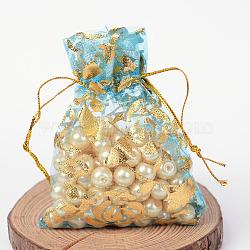rose imprimée en organza sacs, des sacs-cadeaux, rectangle, Bleu ciel, 9x7 cm(X-OP-R021-7x9-02)
