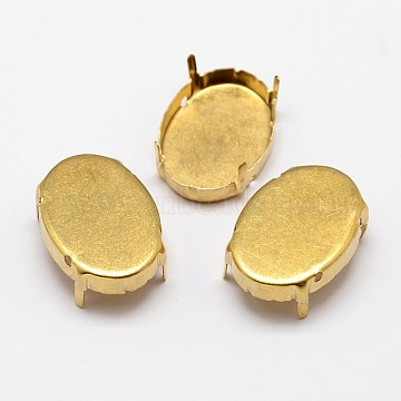 Oval Brass Rhinestone Claw Settings, Within the Error Range of 1mm, Golden, 14x10x0.4mm; Fit for 10x14mm cabochon; about 400pcs/bag(KK-M166-01-10x14)