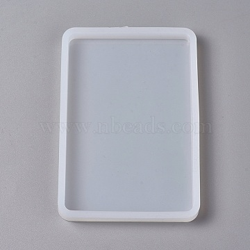 DIY Silicone Molds, Resin Casting Molds, Clay Craft Mold Tools, Rectangle, White, 126x86x10mm(X-AJEW-F030-03B)