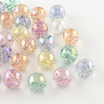 Round AB Color Transparent Acrylic Beads, with Colorful Glitter Powder, Mixed Color, 10mm, Hole: 2mm(X-TACR-D005-10mm-M)