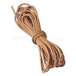 cordon de cuir de vachette , cordon en cuir de bijoux, bricolage bijoux matériau de fabrication, arrondir, chocolat, 2 mm(WL-TAC0001-2mm)