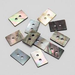 Rectangle 2 trous lèvres noir boutons de nacre, couleur mixte, 12x8x1mm, Trou: 1mm(BUTT-M013-01)
