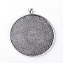 Tibetan Style Alloy Pendant Cabochon Settings, Flat Round, Lead Free, Antique Silver, Tray: 58mm; 70x62x2.5mm, Hole: 7x4.5mm