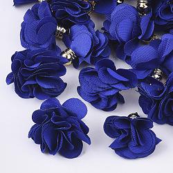 украшения подвески из ткани, с акриловым выводы, цветок, Темно-синий, 25~30x28~35 mm, отверстия: 2 mm(FIND-P026-D16)