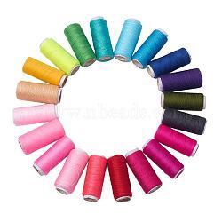 402 cordons de fils à coudre en polyester pour tissus ou bricolage, couleur mixte, 0.1 mm; environ 120 m/rouleau, 20 rouleaux / sac(OCOR-X0002-01)