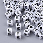 White Opaque Acrylic Beads, Cube with Black Alphabet, Letter.E, 5x5x5mm, Hole: 1.8mm; about 240pcs/20g