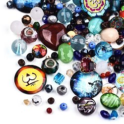 Mixed Style Glass Pendants/Cabochons/Beads, Mixed Shapes, Mixed Color, 1~30x1~30x1~15mm, Hole: 0.5~6mm(FIND-Q083-03)