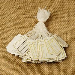 Bijoux en papier étiquette de prix, rectangle, blanc, 26x15mm(TOOL-D021-3)